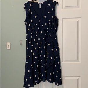 Navy polka dot dress lane Bryant. Size 16